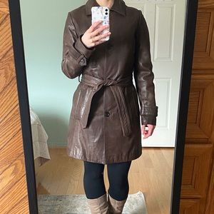 Long Brown Danier Leather Jacket in Mint Condition